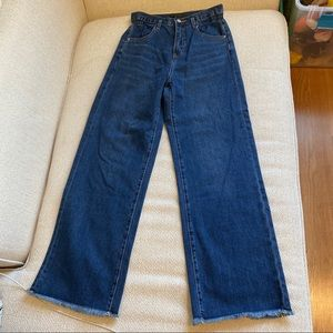 Denim - High rise deconstructed wide leg jeans
